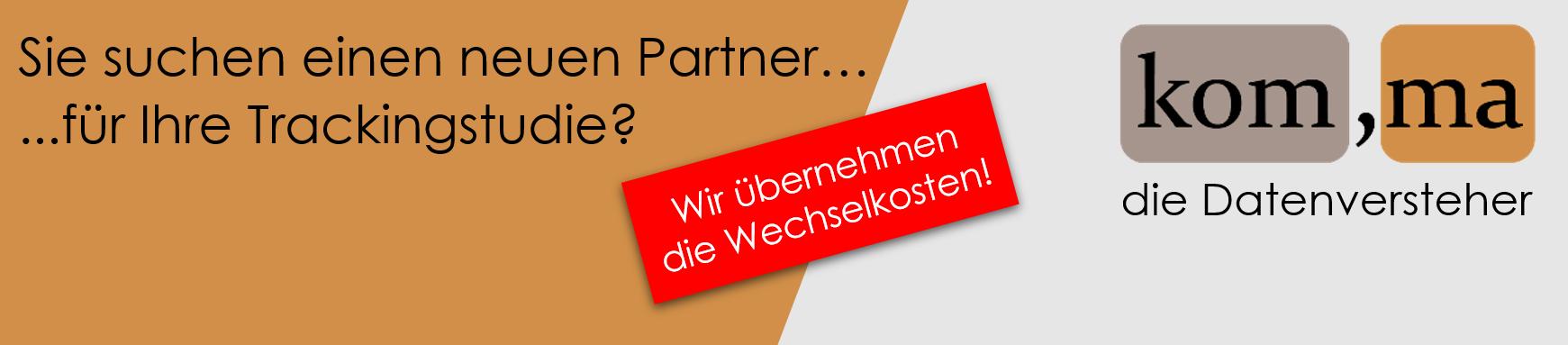Banner komma als neuer Partner für Trackingstudie